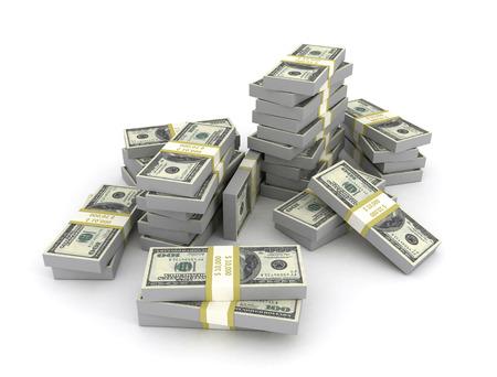 onehundred: Us Dollars stacked on white background Stock Photo
