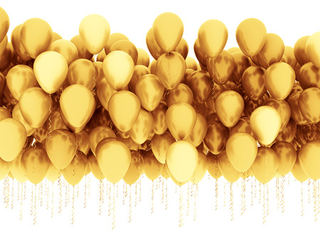 Group of golden balloons isolated on white background Standard-Bild