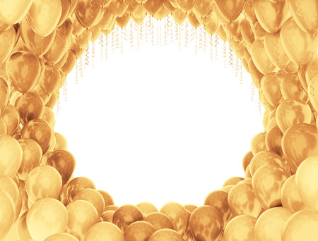 Circle of golden balloons on white background