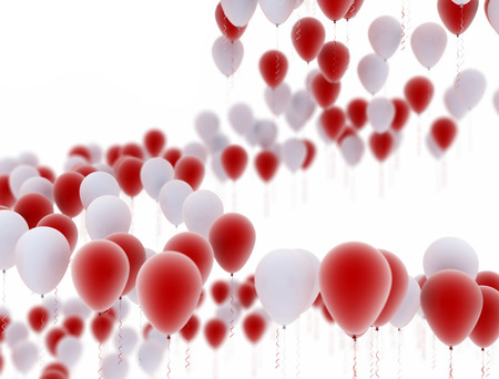 red balloons: Party balloons red and white isolated on white background Stock Photo
