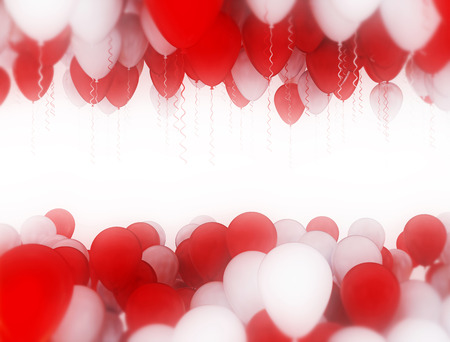 red balloons: red and white balloons celebration background. Valentines day
