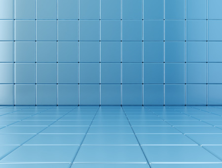 density: Blue glossy cubes background. 3D render