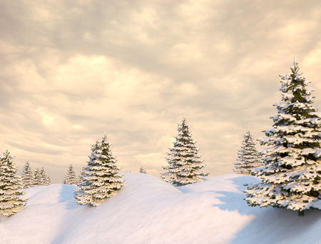 covered in snow: Beautiful winter landscape with snow covered trees Stock Photo