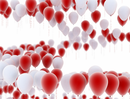 many party balloons in formation isolated on white background Stock Photo