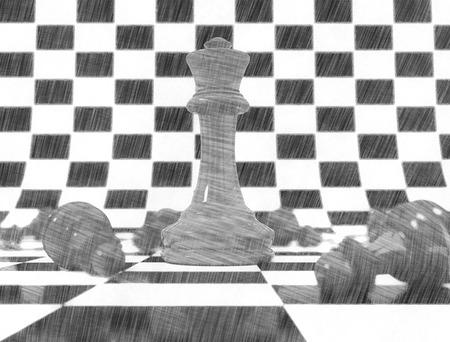sketch: Chess pieces pencil sketch Stock Photo
