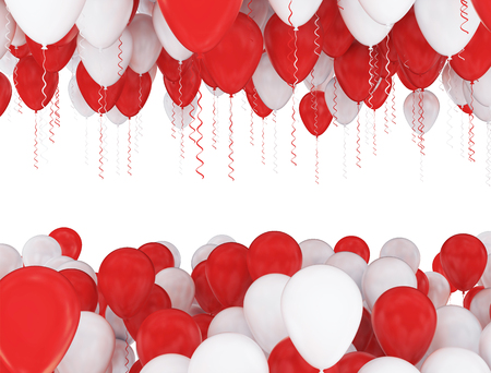 red balloons: red and white party balloons isolated on white background