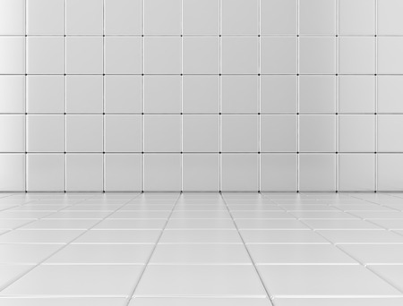 infinitely: White glossy cubes background. 3D render
