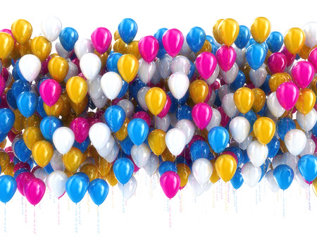 anniversary sale: Multi color balloons isolated on white