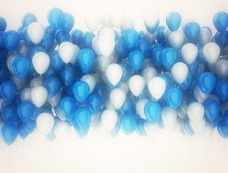 慶典: 黨慶祝氣球隔絕在白色