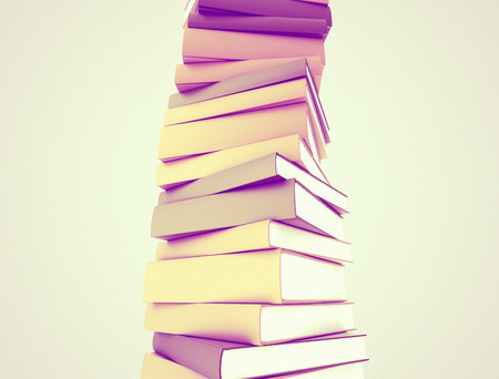 study: 3d illustration of stacked books Stock Photo