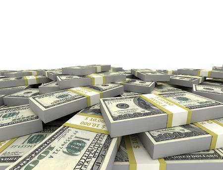 hundreds: Bundles of us dollars stacked isolated on white background  Stock Photo