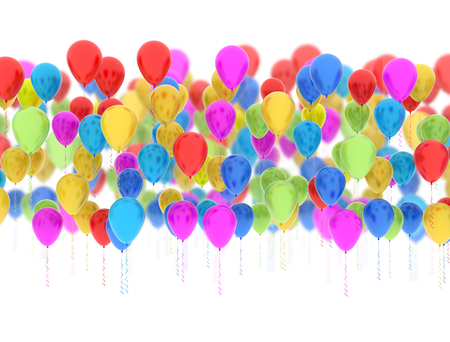 Colorful party balloons multi color isolated on white background Stock Photo