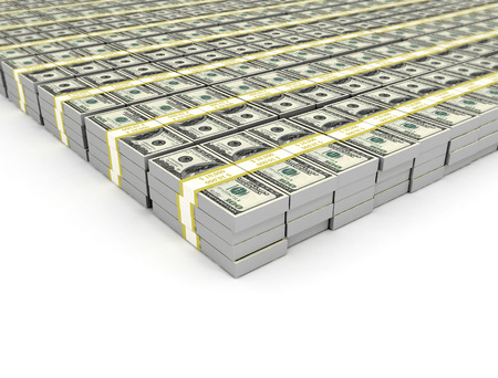 federal: Heap of Dollar Bills isolated on white background with place for your text Stock Photo
