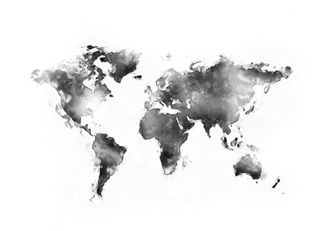 World map black water color isolated