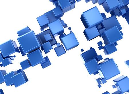 白い背景の上の抽象的な 3 d デジタル cubesisolated 写真素材