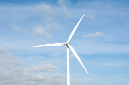 esbjerg: Wind turbine on a field, close up. Denmark, Esbjerg Stock Photo