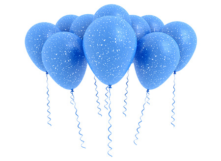 isolated on white: Blue balloons isolated on white  Stock Photo