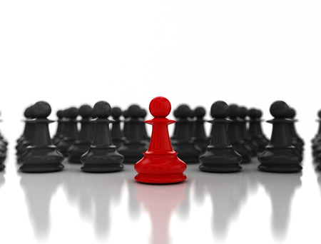 dissident: Leadership business concept. Red pawn in front