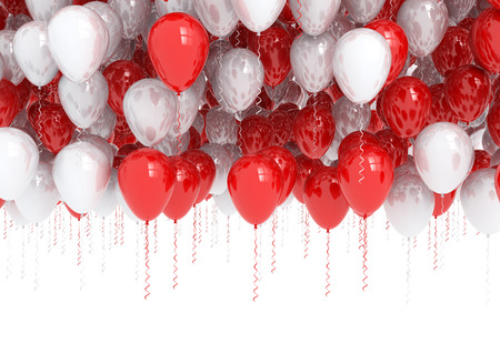 Red and white birthday balloons
