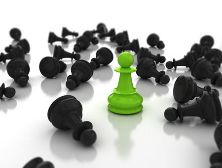 strategic position: leadership concept green pawn standing