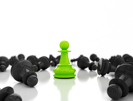 expertise: Single green pawn. Last one standing Business strategy concept background