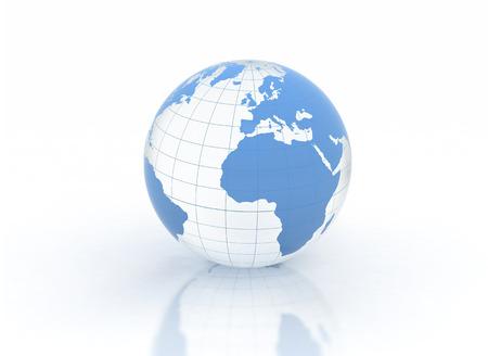 world globe: Blue glass world globe on white background