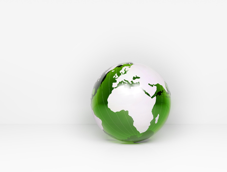 global communication: Green glass world globe