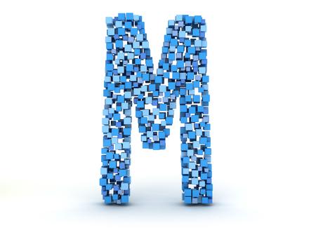 3D letter M build out of cubes