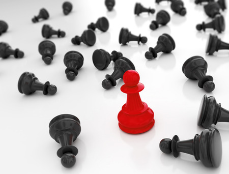 Single redn pawn. Last one standing Business strategy concept background Standard-Bild - 96714007