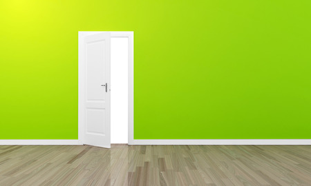 Oppen door large green wall and wooden floor  Stock Photo