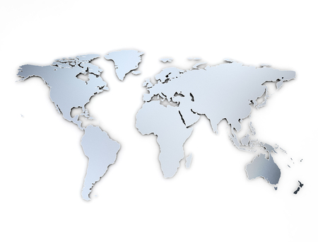 World map metal texturewith shadow on white background Stock Photo