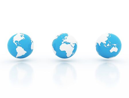 3 computer rendered globes on white background