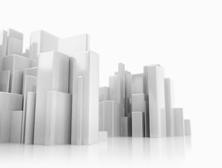 Abstract 3d cityscape on white background with reflections