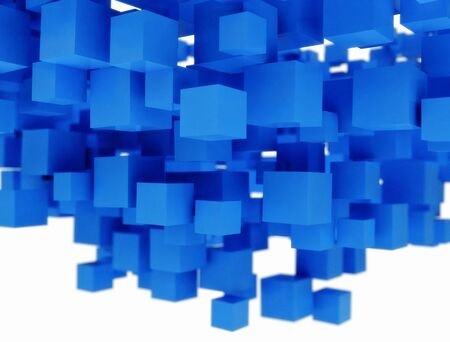 Abstract backgrounds pattern of 3D blue cubes