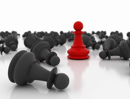 Red chess pawn standing business conceptual background. Strategy