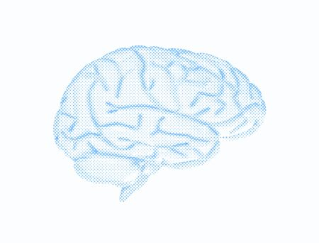 Human brain half tone pattern isolated on white background