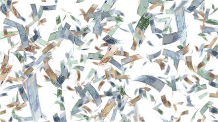 Falling Euro bank notes isolated on white background Archivio Fotografico - 129705798