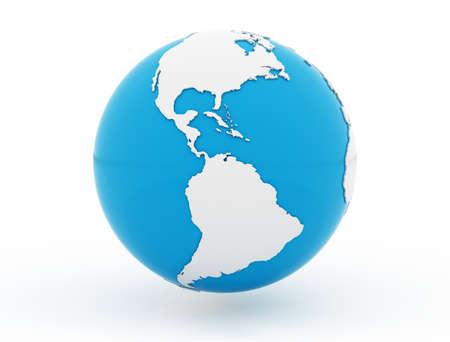 Blue globe United states isolated on white background