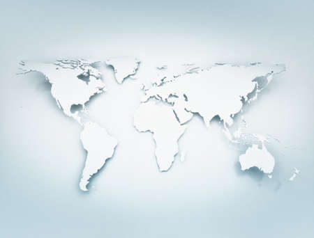World map 3D. Bend with shadows