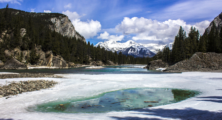 A snowy mountain valley of the Canadian Rockies near Banff, Canada Stock Photo