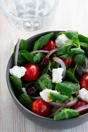 Winter salad with lamb's lettuce, spinach, cherry tomatoes, red onion, dried cranberries and goat cheese. Grey ceramic bowl, white wooden table, high resolution