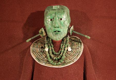 Mayan royal death mask, made of jade. Reklamní fotografie - 106789887