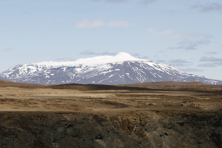 Mt. Hekla, an active volcano in Iceland. Stock Photo