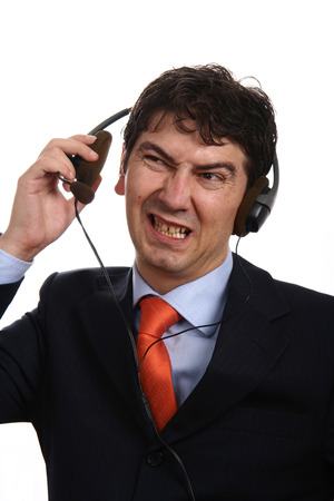 young call center man talking by the phone Stock Photo - 2638656