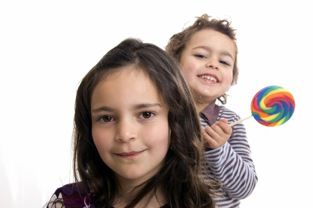 kids with lollipop on a white background Stock Photo - 4415823