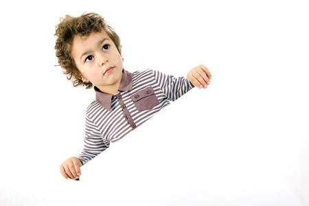 kid with white sheet on a white background Stock Photo - 4415820