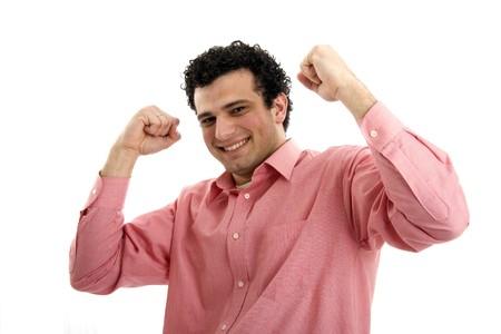 casual man symbolizing victory Stock Photo - 4541917