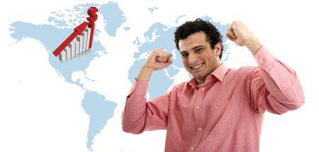 casual man symbolizing victory photo