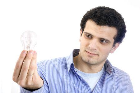 man with light bulb on hand photo