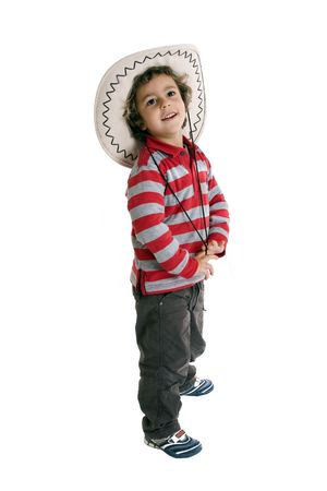 kid with cowboy hat over whith background Stock Photo - 11355984